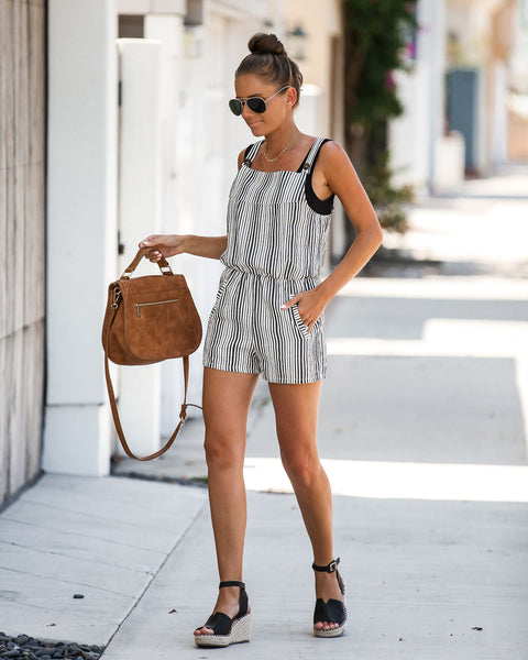 Vallarta Cotton Striped Pocketed Romper - FINAL SALE