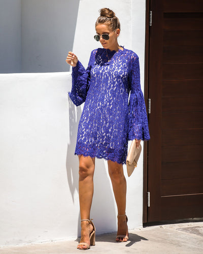 Fit For A Queen Lace Dress - Cobalt Blue - FINAL SALE