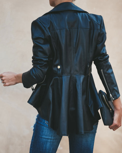 Casablanca Faux Leather Statement Jacket - Black