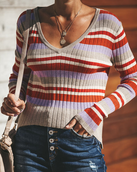 Popart Striped Ribbed Knit Top