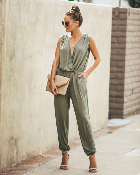 51b81c5fd3f You Beauty Sleeveless Pocketed Jumpsuit - Olive - FINAL SALE