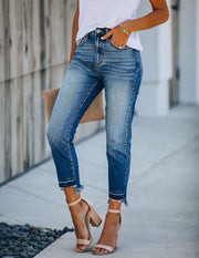 Kiara High Rise Frayed Ankle Denim