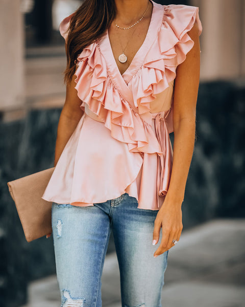 Glamorize Satin Ruffle Wrap Top