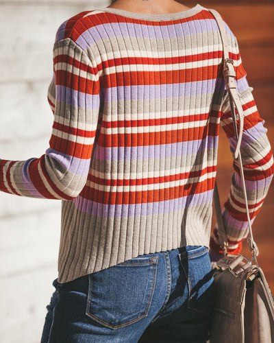 Popart Striped Ribbed Knit Top - FINAL SALE