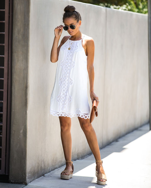 Warm Weather, Please Cotton Crochet Tank Dress - Off White
