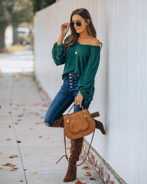 Soft Touch Balloon Sleeve Knit Top - Hunter Green