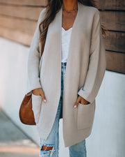 Snug As A Bug Pocketed Knit Cardigan - Taupe