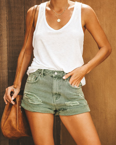 Stagecoach Distressed Cuffed Denim Shorts - Olive - FINAL SALE