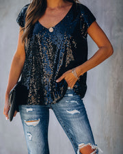 Girls Night Out Sequin Top - Black - FINAL SALE
