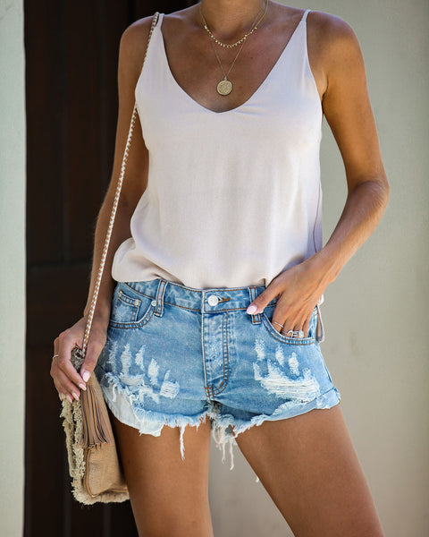 Cooperage Distressed Cuffed Denim Shorts
