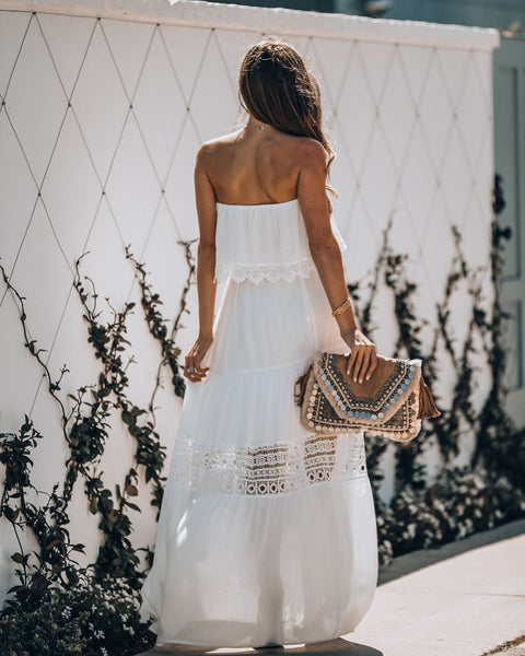 Occupy My Heart Strapless Crochet Tiered Maxi Dress Vici