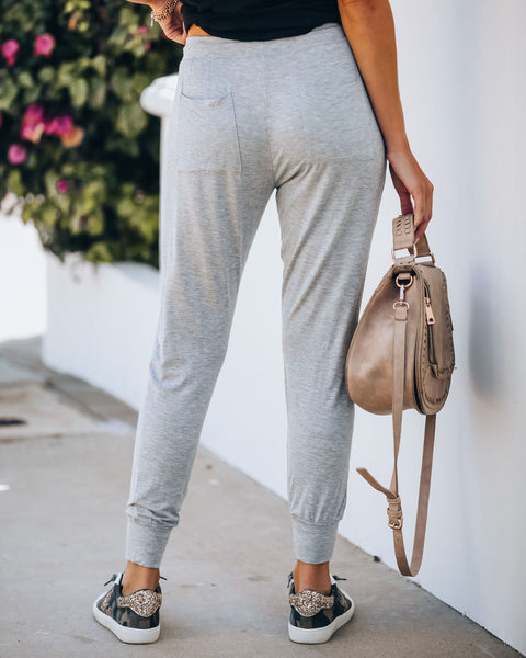 Catch Some Z's Pocketed Knit Joggers - Grey