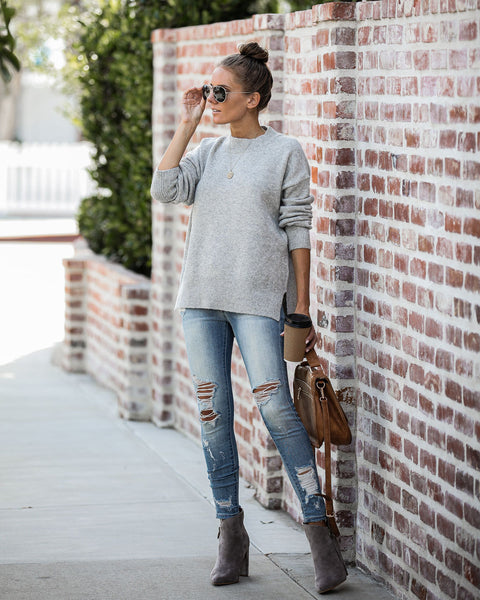 Jenner Knit Sweater - Heather Grey - FINAL SALE