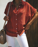 Business Or Pleasure Cotton Button Down Top - Rust
