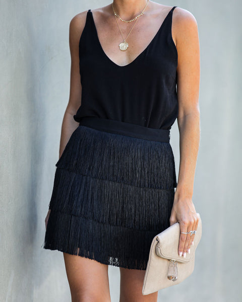 Jazz It Up Fringe Tiered Mini Skirt