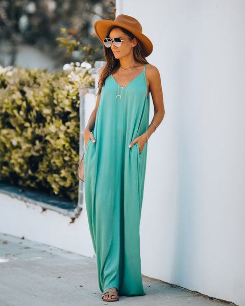 Olivian Pocketed Maxi Dress - Dusty Seafoam