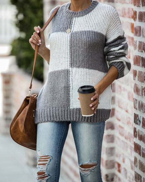 Tic-Tac-Toe Colorblock Knit Sweater - Ash Grey - FINAL SALE