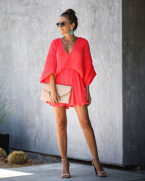 World-Class Pleated Romper - Coral