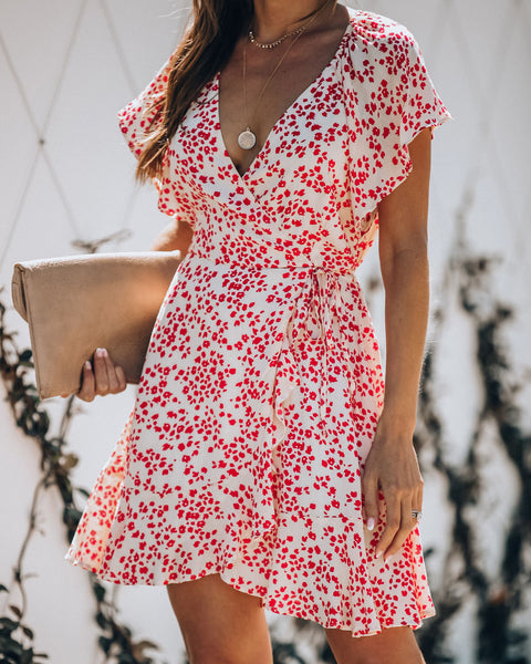 Right Mindset Printed Wrap Dress