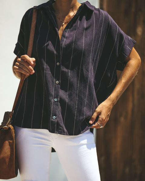 Business Or Pleasure Cotton Button Down Top - Navy