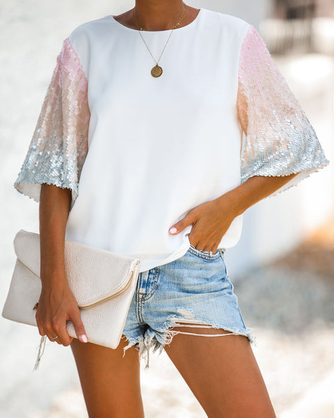 Oh She Glows Sequin Sleeve Blouse