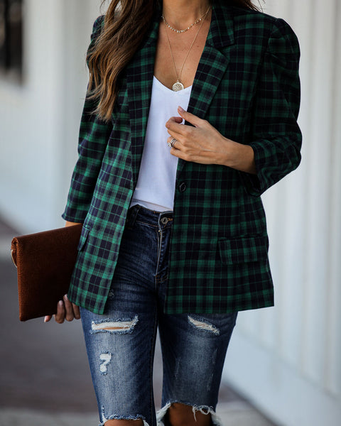 Do What You Love Plaid Blazer - FINAL SALE