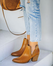 Retro Faux Leather Studded Bootie - Camel view 10