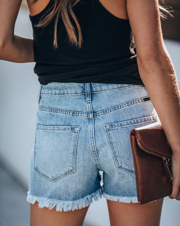 Hazel High Rise Distressed Denim Shorts view 2