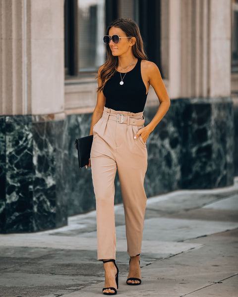 Notting Hill Pocketed High Rise Belted Trousers