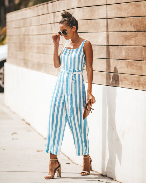 Cruisin' Striped Tie Jumpsuit - FINAL SALE