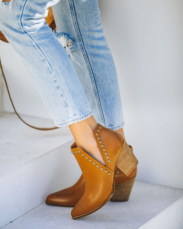 Retro Faux Leather Studded Bootie - Camel view 1