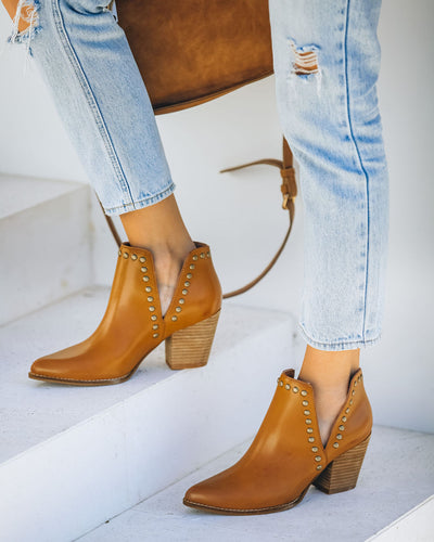 Retro Faux Leather Studded Bootie - Camel