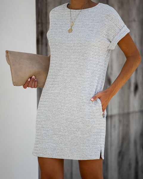 Framework Pocketed Knit Dress - Heather Grey