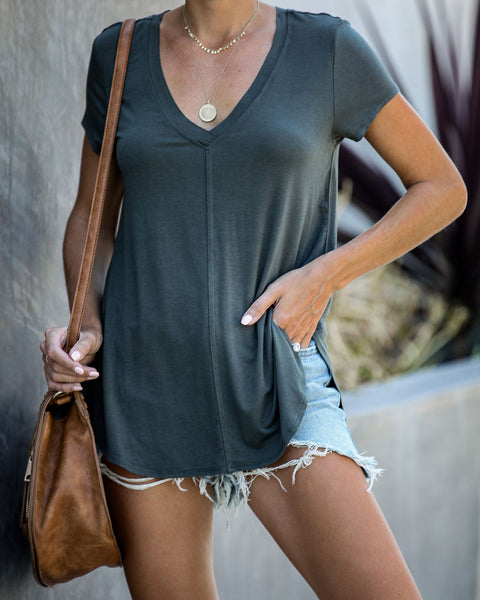 Across The Globe V-Neck Tee - Olive Shadow