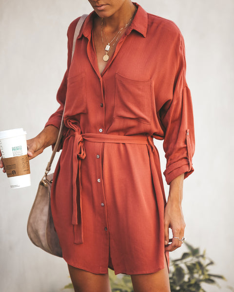 Chivalry Button Down Shirt Dress - Dusty Brick
