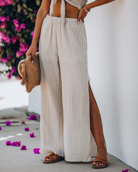 Private Beach Cotton Pocketed Striped Slit Pants