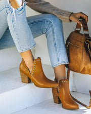 Retro Faux Leather Studded Bootie - Camel view 7