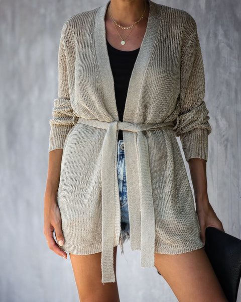 Can't Resist Metallic Tie Cardigan - Gold - FINAL SALE