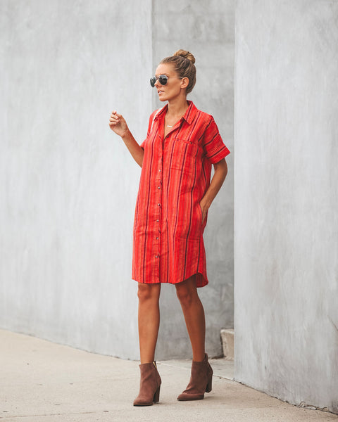 Rancho Button Down Pocketed Shirt Dress - Cherry