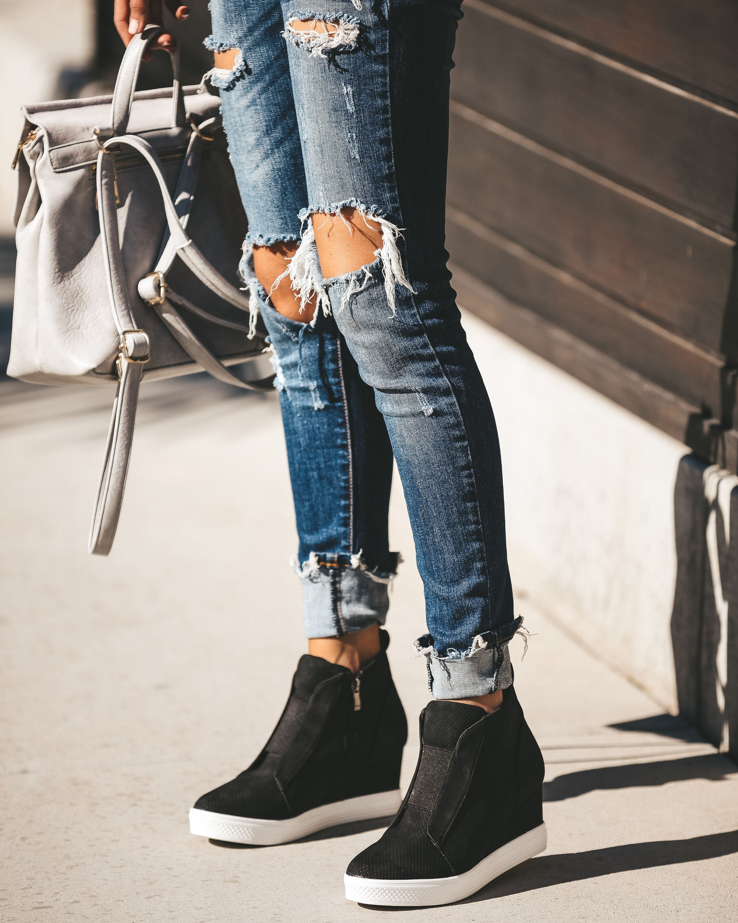 New In Town Faux Suede Wedge Sneaker - Black – VICI