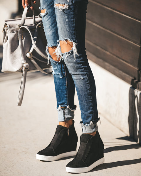 New In Town Faux Suede Wedge Sneaker - Black - FINAL SALE