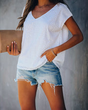 Girls Night Out Sequin Top - Off White - FINAL SALE view 8