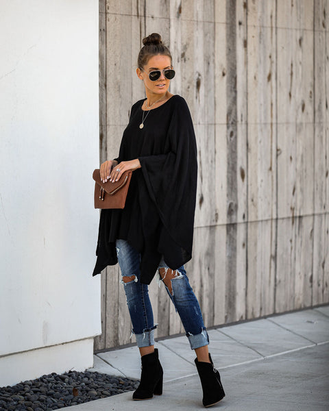 Hostess With The Mostest Knit Poncho - Black