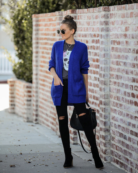 Cute In Cobalt Pocketed Knit Cardigan - FINAL SALE