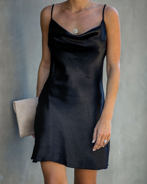 Alexa Satin Mini Slip Dress - Black - FINAL SALE