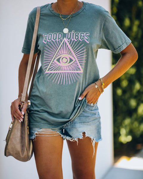 Eye On The Good Vibes Cotton Tee