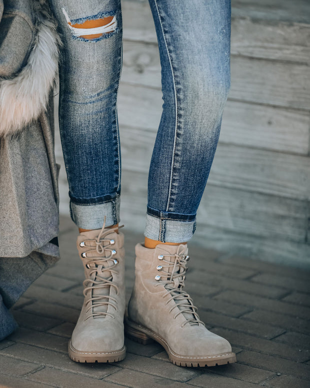 Giselle Faux Suede Lace Up Boot