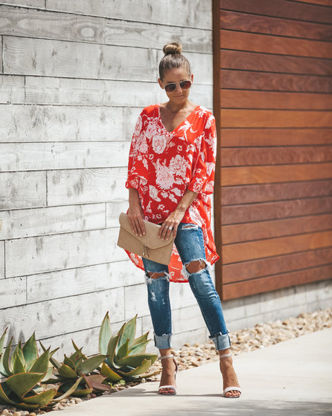The Big Orange High Low Blouse