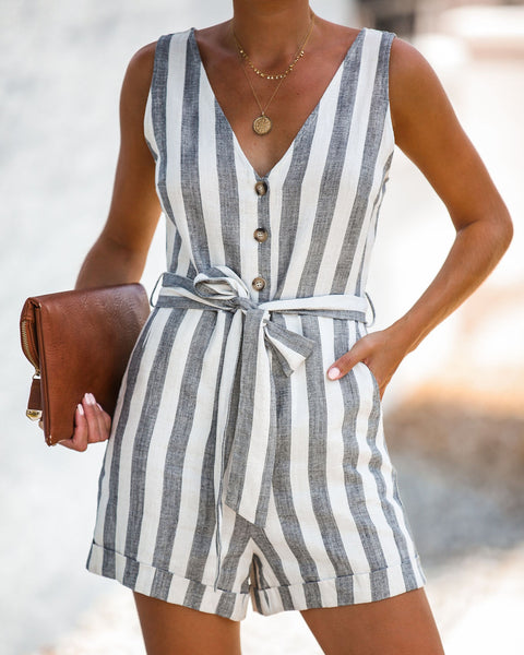 Connor Striped Button Down Pocketed Romper