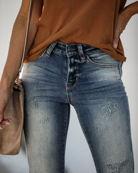 Physical Mid Rise Distressed Skinny - FINAL SALE